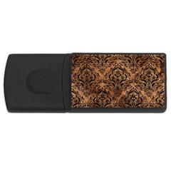 Damask1 Black Marble & Brown Stone (r) Usb Flash Drive Rectangular (4 Gb) by trendistuff