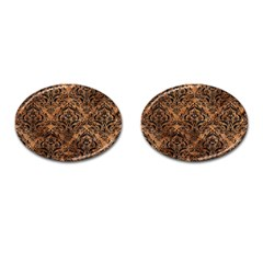 Damask1 Black Marble & Brown Stone (r) Cufflinks (oval) by trendistuff
