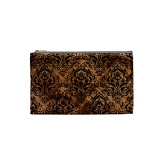 Damask1 Black Marble & Brown Stone (r) Cosmetic Bag (small) by trendistuff