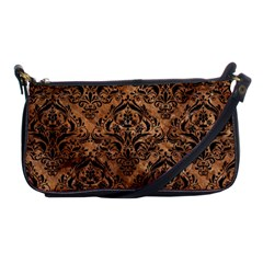 Damask1 Black Marble & Brown Stone (r) Shoulder Clutch Bag by trendistuff