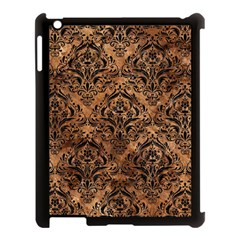 Damask1 Black Marble & Brown Stone (r) Apple Ipad 3/4 Case (black) by trendistuff