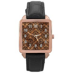 Damask1 Black Marble & Brown Stone (r) Rose Gold Leather Watch  by trendistuff