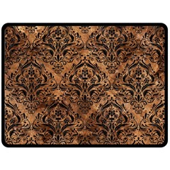 Damask1 Black Marble & Brown Stone (r) Double Sided Fleece Blanket (large) by trendistuff