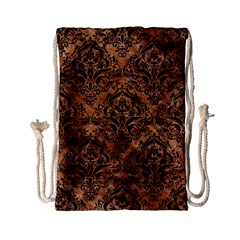 Damask1 Black Marble & Brown Stone (r) Drawstring Bag (small) by trendistuff