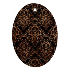 Damask1 Black Marble & Brown Stone Ornament (oval) by trendistuff