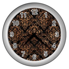 Damask1 Black Marble & Brown Stone Wall Clock (silver) by trendistuff