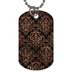 Damask1 Black Marble & Brown Stone Dog Tag (one Side) by trendistuff