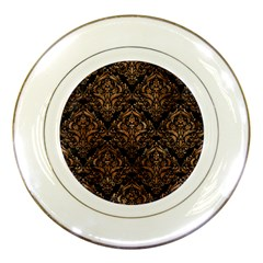 Damask1 Black Marble & Brown Stone Porcelain Plate by trendistuff