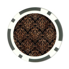 Damask1 Black Marble & Brown Stone Poker Chip Card Guard by trendistuff