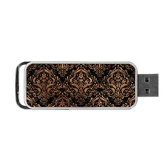 Damask1 Black Marble & Brown Stone Portable Usb Flash (two Sides) by trendistuff