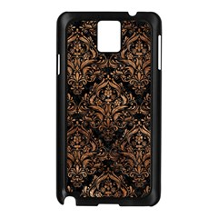 Damask1 Black Marble & Brown Stone Samsung Galaxy Note 3 N9005 Case (black) by trendistuff