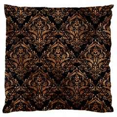 Damask1 Black Marble & Brown Stone Large Flano Cushion Case (two Sides) by trendistuff
