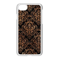 Damask1 Black Marble & Brown Stone Apple Iphone 7 Seamless Case (white) by trendistuff