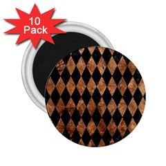 Diamond1 Black Marble & Brown Stone 2 25  Magnet (10 Pack) by trendistuff