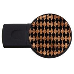 Diamond1 Black Marble & Brown Stone Usb Flash Drive Round (2 Gb) by trendistuff
