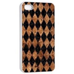 Diamond1 Black Marble & Brown Stone Apple Iphone 4/4s Seamless Case (white) by trendistuff