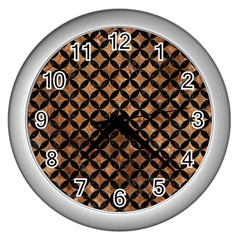 Circles3 Black Marble & Brown Stone (r) Wall Clock (silver) by trendistuff