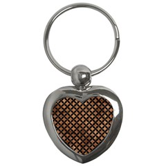 Circles3 Black Marble & Brown Stone (r) Key Chain (heart) by trendistuff