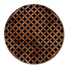 Circles3 Black Marble & Brown Stone Round Mousepad by trendistuff