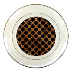 Circles2 Black Marble & Brown Stone (r) Porcelain Plate by trendistuff
