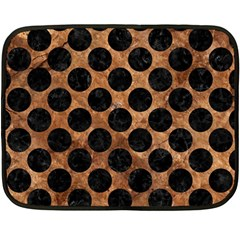 Circles2 Black Marble & Brown Stone (r) Double Sided Fleece Blanket (mini)
