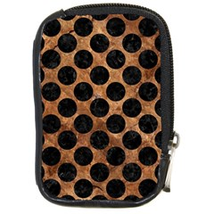 Circles2 Black Marble & Brown Stone (r) Compact Camera Leather Case by trendistuff