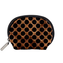 Circles2 Black Marble & Brown Stone (r) Accessory Pouch (small) by trendistuff