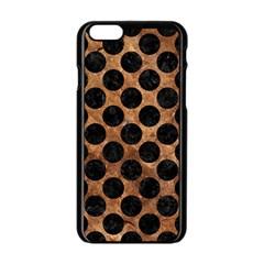 Circles2 Black Marble & Brown Stone (r) Apple Iphone 6/6s Black Enamel Case by trendistuff