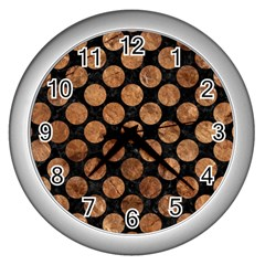 Circles2 Black Marble & Brown Stone Wall Clock (silver) by trendistuff