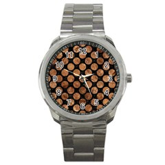 Circles2 Black Marble & Brown Stone Sport Metal Watch by trendistuff