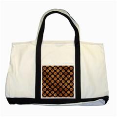 Circles2 Black Marble & Brown Stone Two Tone Tote Bag by trendistuff