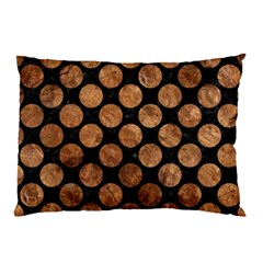 Circles2 Black Marble & Brown Stone Pillow Case by trendistuff