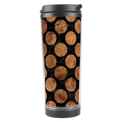Circles2 Black Marble & Brown Stone Travel Tumbler by trendistuff