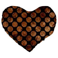Circles2 Black Marble & Brown Stone Large 19  Premium Flano Heart Shape Cushion by trendistuff