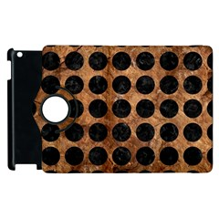 Circles1 Black Marble & Brown Stone (r) Apple Ipad 2 Flip 360 Case by trendistuff