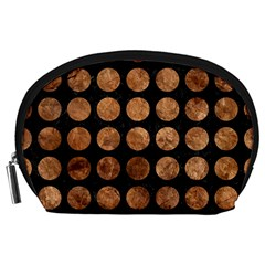 Circles1 Black Marble & Brown Stone Accessory Pouch (large) by trendistuff