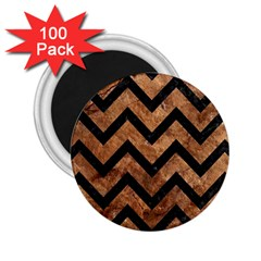 Chevron9 Black Marble & Brown Stone (r) 2 25  Magnet (100 Pack)  by trendistuff