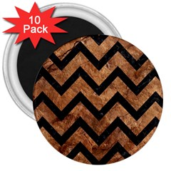 Chevron9 Black Marble & Brown Stone (r) 3  Magnet (10 Pack) by trendistuff