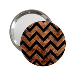 Chevron9 Black Marble & Brown Stone (r) 2 25  Handbag Mirror by trendistuff