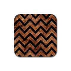 Chevron9 Black Marble & Brown Stone (r) Rubber Square Coaster (4 Pack) by trendistuff