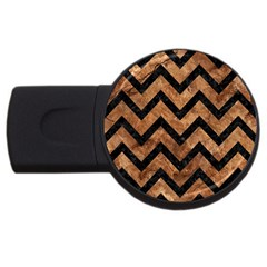 Chevron9 Black Marble & Brown Stone (r) Usb Flash Drive Round (2 Gb) by trendistuff