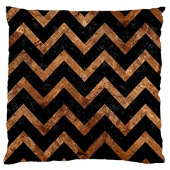 Chevron9 Black Marble & Brown Stone Standard Flano Cushion Case (one Side) by trendistuff