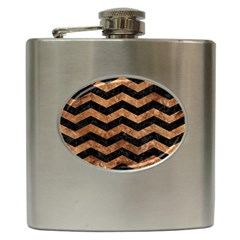 Chevron3 Black Marble & Brown Stone Hip Flask (6 Oz) by trendistuff