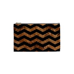 Chevron3 Black Marble & Brown Stone Cosmetic Bag (small) by trendistuff