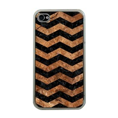Chevron3 Black Marble & Brown Stone Apple Iphone 4 Case (clear) by trendistuff