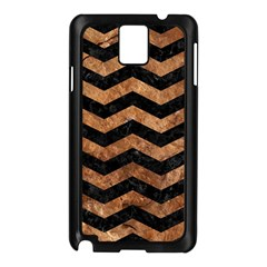 Chevron3 Black Marble & Brown Stone Samsung Galaxy Note 3 N9005 Case (black) by trendistuff