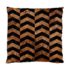 Chevron2 Black Marble & Brown Stone Standard Cushion Case (two Sides) by trendistuff