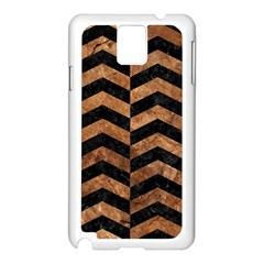 Chevron2 Black Marble & Brown Stone Samsung Galaxy Note 3 N9005 Case (white) by trendistuff