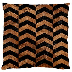 Chevron2 Black Marble & Brown Stone Large Flano Cushion Case (one Side) by trendistuff