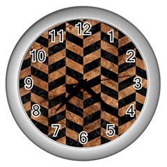 Chevron1 Black Marble & Brown Stone Wall Clock (silver) by trendistuff